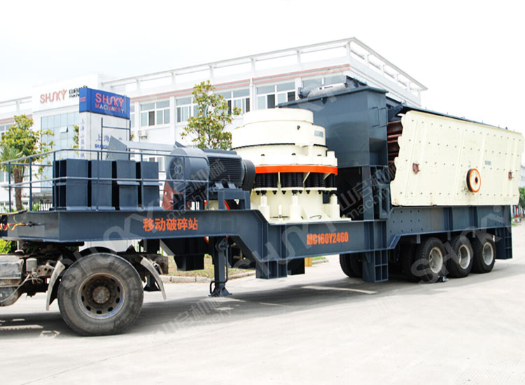 Mobile cone crushing station